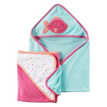 Carter's Baby Girls' 2-Pack Fish Hooded Towels