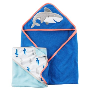 Carter's Baby Boys' 2-Pack Shark Terry Hooded Towels