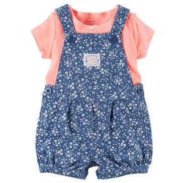 Carter's Baby Girls' 2-Piece Tee and Denim Shortall Set
