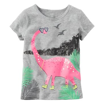 Carter's Toddler Girls' Rolling Skating Dino Tee, Grey