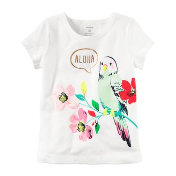 Carter's Toddler Girls' Aloha Bird Tee, White