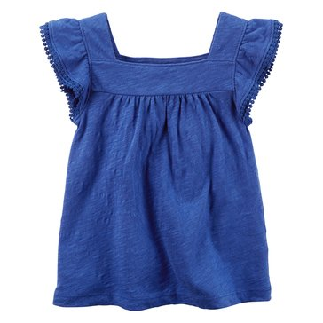 Carter's Toddler Girls' Solid Peasant Top, Blue