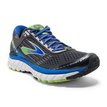 Brooks Ghost 9 Wide Men's Running Shoe Anthracite/ Electric Brooks Blue/ Lime Punch