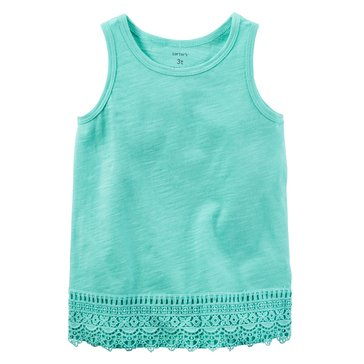 Carter's Toddler Girls' Solid Lace Hem Tank, Aqua