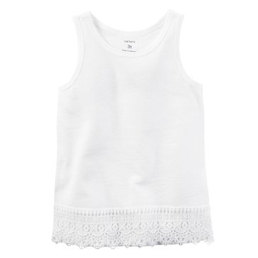 Carter's Toddler Girls' Solid Lace Hem Tank, White