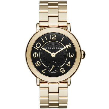 Marc Jacobs Riley Gold Black Dial Watch 36mm