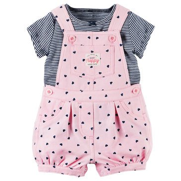Carter's Baby Girls' 2-Piece Stripe Top and Heart Shortalls Set