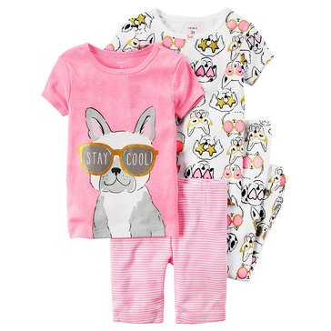 Carter's Big Girls' 4-Piece Cool Dog Pajama Set