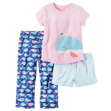 Carter's Little Girls' 3-Piece Poly Whale Print Pajama Set