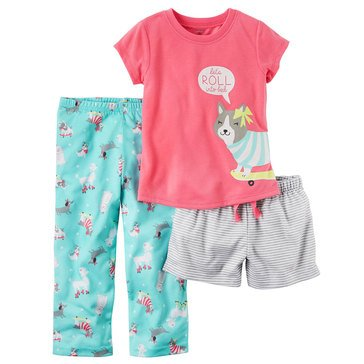 Carter's Little Girls' 3-Piece Poly Dog Print Pajama Set