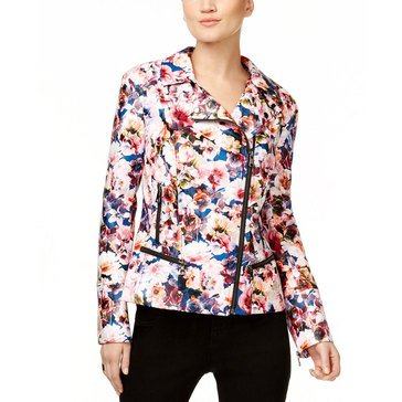 INC International Concepts Print Faux Leather Moto Jacket