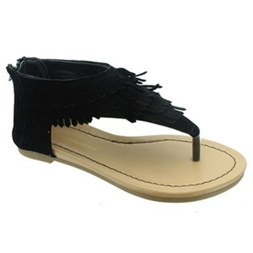 Pierre Dumas Kids Fringe Girls' Thong Sandal With Fringe Black