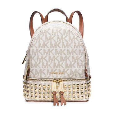 Michael Kors Rhea Zip Small Stud Backpack Vanilla