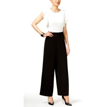 Thalia Black & White Jumpsuit With Flutter Sleeve