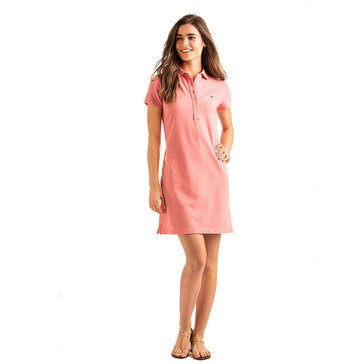 Vineyard Vines Heathered Polo Dress in Coral Sand