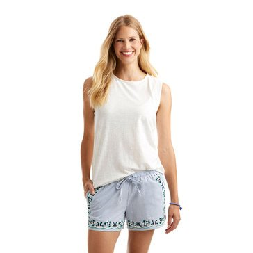 Vineyard Vines Sleeveless Eyelet Mix Aline Top in White