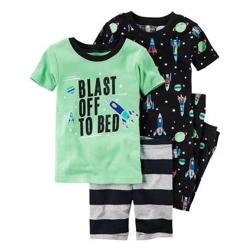 Carter's Baby Boys' 4-Piece Cotton Sleepwear Set, Blast Off To Bed