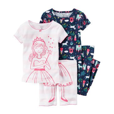 Carter's Baby Girls' 4-Piece Cotton Sleepwear Set, Princess