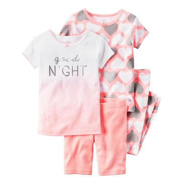 Carter's Baby Girls' 4-Piece Cotton Sleepwear Set, Good Night