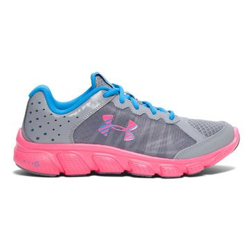 Under Armour GGS Micro G Assert 6 Girls' Running Shoe Steel/ Harmony Red/ Electric Blue
