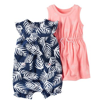 Carter's Baby Girls' 2-Pack Palm Romper Set