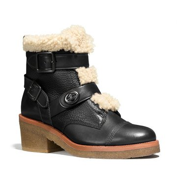 Coach Preston Buckles & Turnlock Bootie Black/Natural