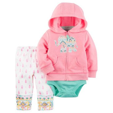 Carter's Baby Girls' 3-Piece Cardigan Set, Elephant
