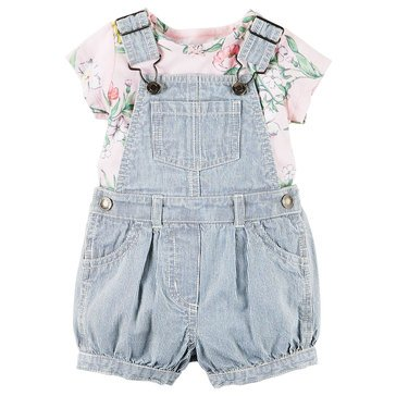 Carter's Baby Girls' Floral Chambray 2-Piece Shortall
