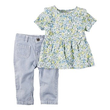 Carter's Baby Girls' 2-Piece Denim Pant Set, Floral
