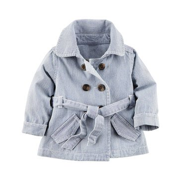 Carter's Baby Girls' Pinstripe Trench Jacket