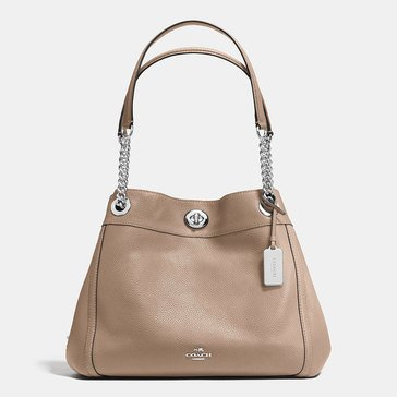 Coach Pebble Turnlock Edie Shoulder Bag Stone