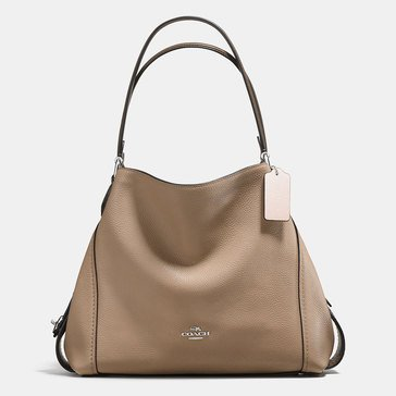 Coach Colorblocked Mixed Metal Edie 31 Shoulder Bag Stone