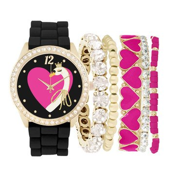 Jessica Carlyle Women's Pink Heart Crystal Bezel Black Rubber Strap Watch and Bracelet Set