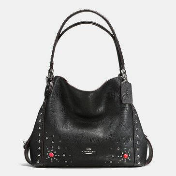 Coach Western Rivet Edie 31 Shoulder Bag Black