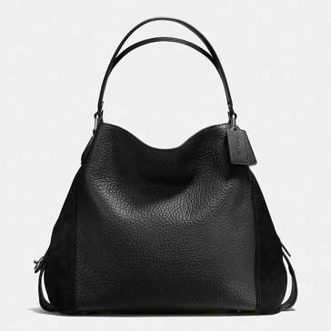 Coach Mixed Leather Edie 42 Shoulder Bag Black