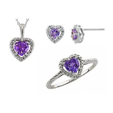 Sterling Silver Amethyst & Diamond 3 Piece Set