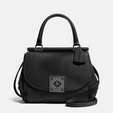 Coach Mixed Leather Drifter Top Handle Carryall Black