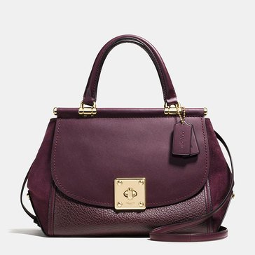 Web Exclusive! Coach Mixed Leather Drifter Top Handle Carryall Oxblood