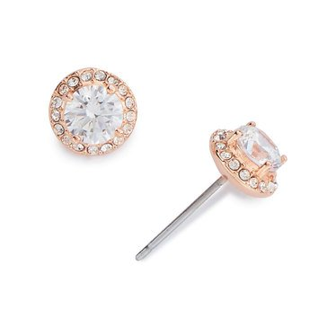 Nadri Halo Stud Earrings, Rose Gold Tone