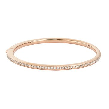 Nadri Channel Set Hinged Bangle, Rose Gold Tone