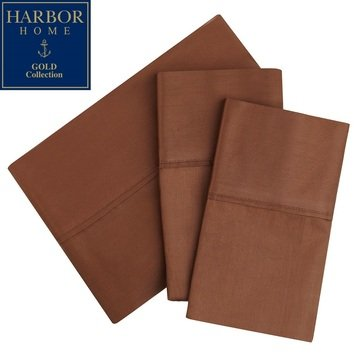 Harbor Home Gold Collection 300 Thread-Count Pillowcase, Brown - Standard