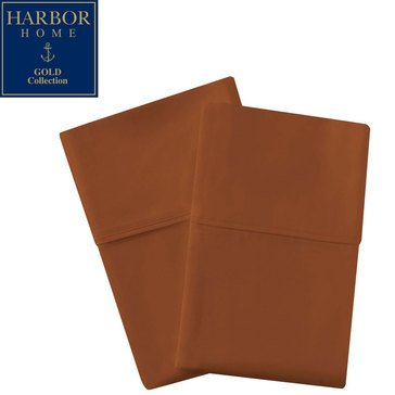 Harbor Home Gold Collection 300 Thread-Count Pillowcase, Brown - King