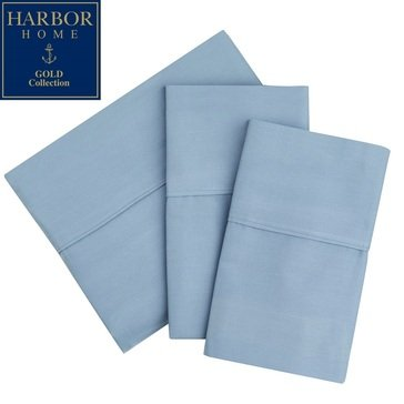 Harbor Home Gold Collection 300 Thread-Count Sheet Set, Spa Blue - Full