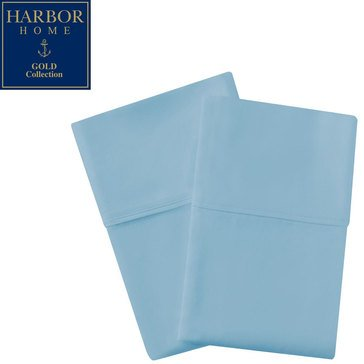 Harbor Home Gold Collection 300 Thread-Count Pillowcase, Spa Blue - Standard