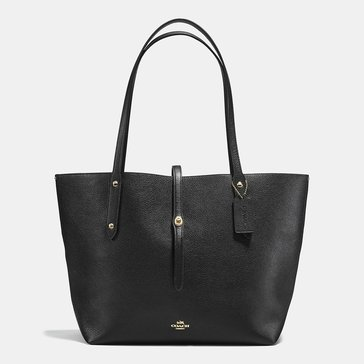Coach Polished Pebble Market Tote Black/ True Red