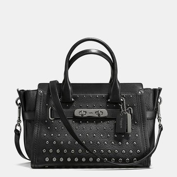 Coach Ombre Rivet Swagger 27 Satchel Black