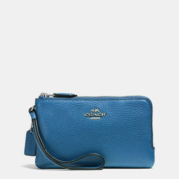 Coach Pebble Double Small Wristlet Lapis