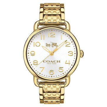 Coach Women's Delancey Gold Plated Etched Logo Bracelet Watch, 36mm