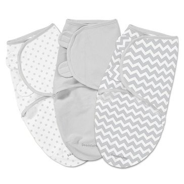 Summer Infant Swaddle Me 3-Pack, Small, Grey Chevron Stars