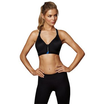 Maidenform Secure Front Zip Sport Bra Black/ Bozetto Blue